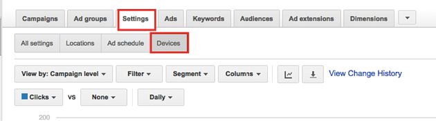 adwords device settings