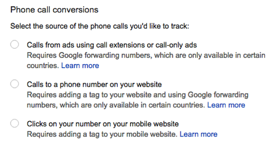phone call conversions